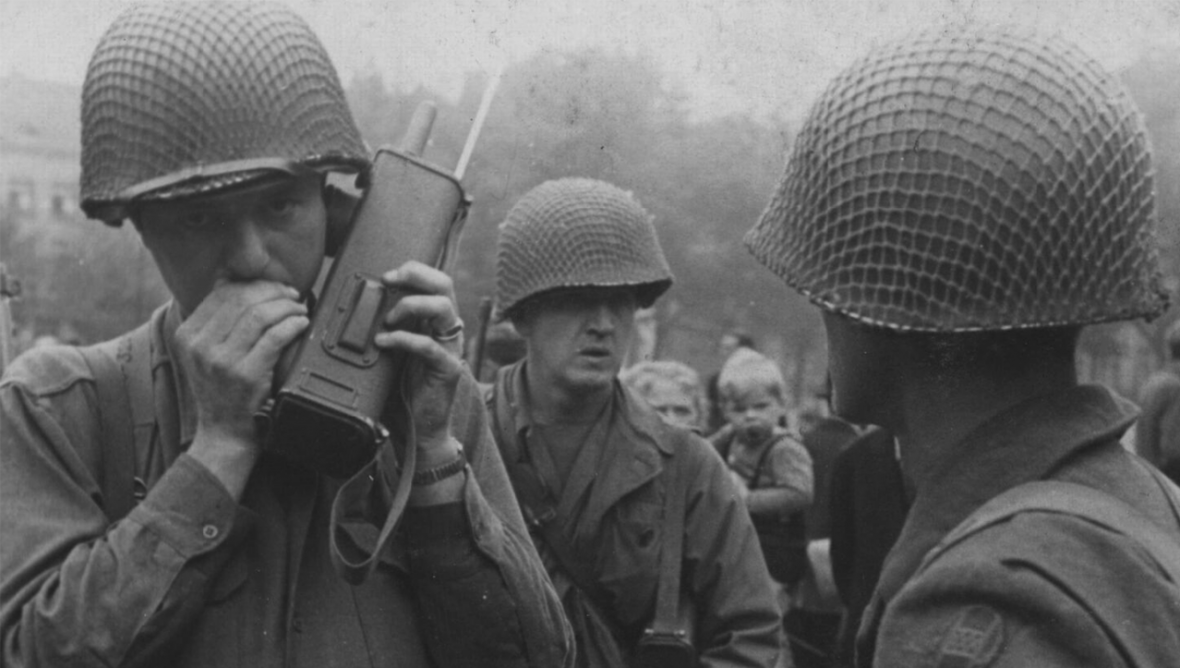 HQ Troops of the 30th Infantry Division in Maastricht during it's Liberation.